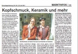 Artikel über Keramikraum in Kreuzlinger Zeitung
